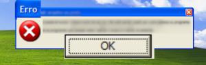 O aplicativo encontrou um erro.