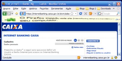 O Firefox impediu o site de instalar um complemento. O botão que permite a instalação está do lado direito da tela.